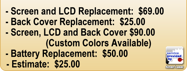 iPhone 4, iPhone 4s - Screen and LCD Replacement, Back Cover Replacement, Screen, LCD, and Back Cover - Custom Colors Available, Battery Replacement, Estimate